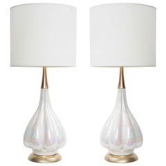 Mid Century Opalescent Glazed Ceramic Lamps