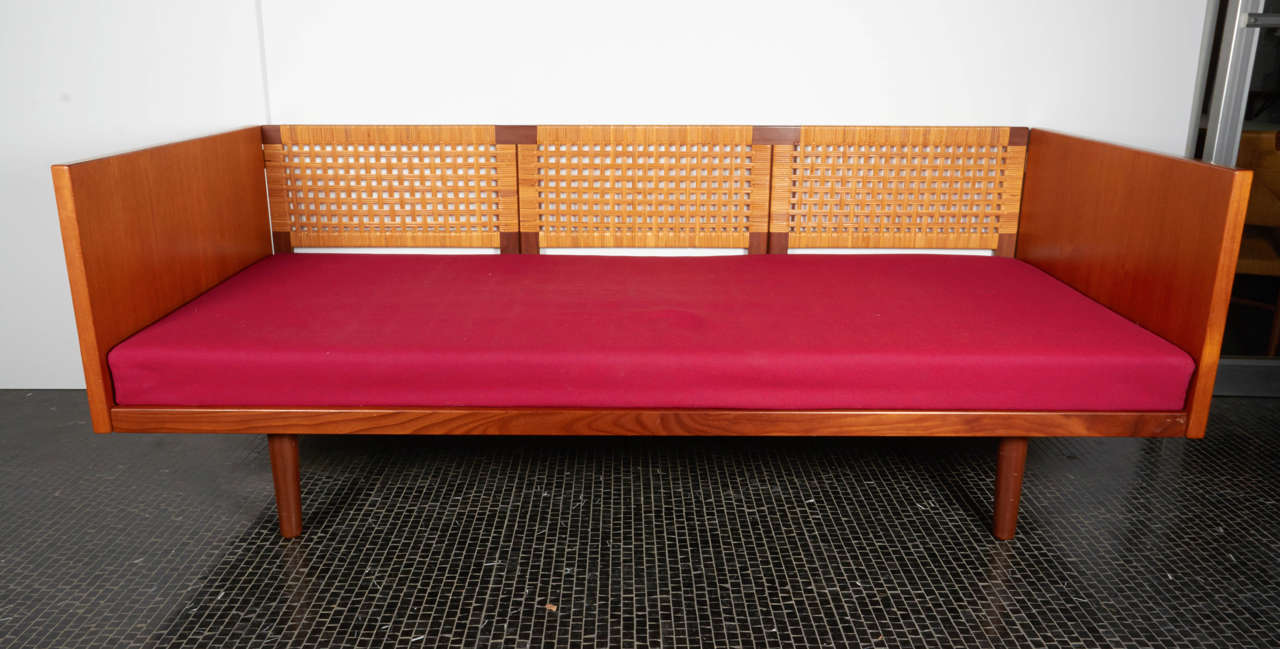 Rare Hans Wegner Daybed In Teak With Cane Back 1960s At