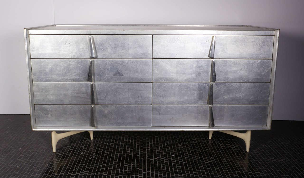 American Custom Silver Leaf Dresser By Donald Deskey For Charak