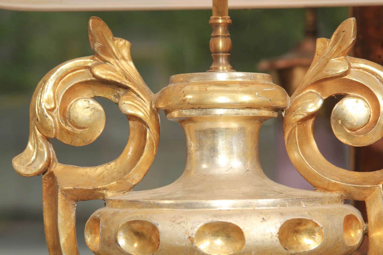 Pair of Gilded Urn Fragment Lamps In Good Condition For Sale In Seattle, WA