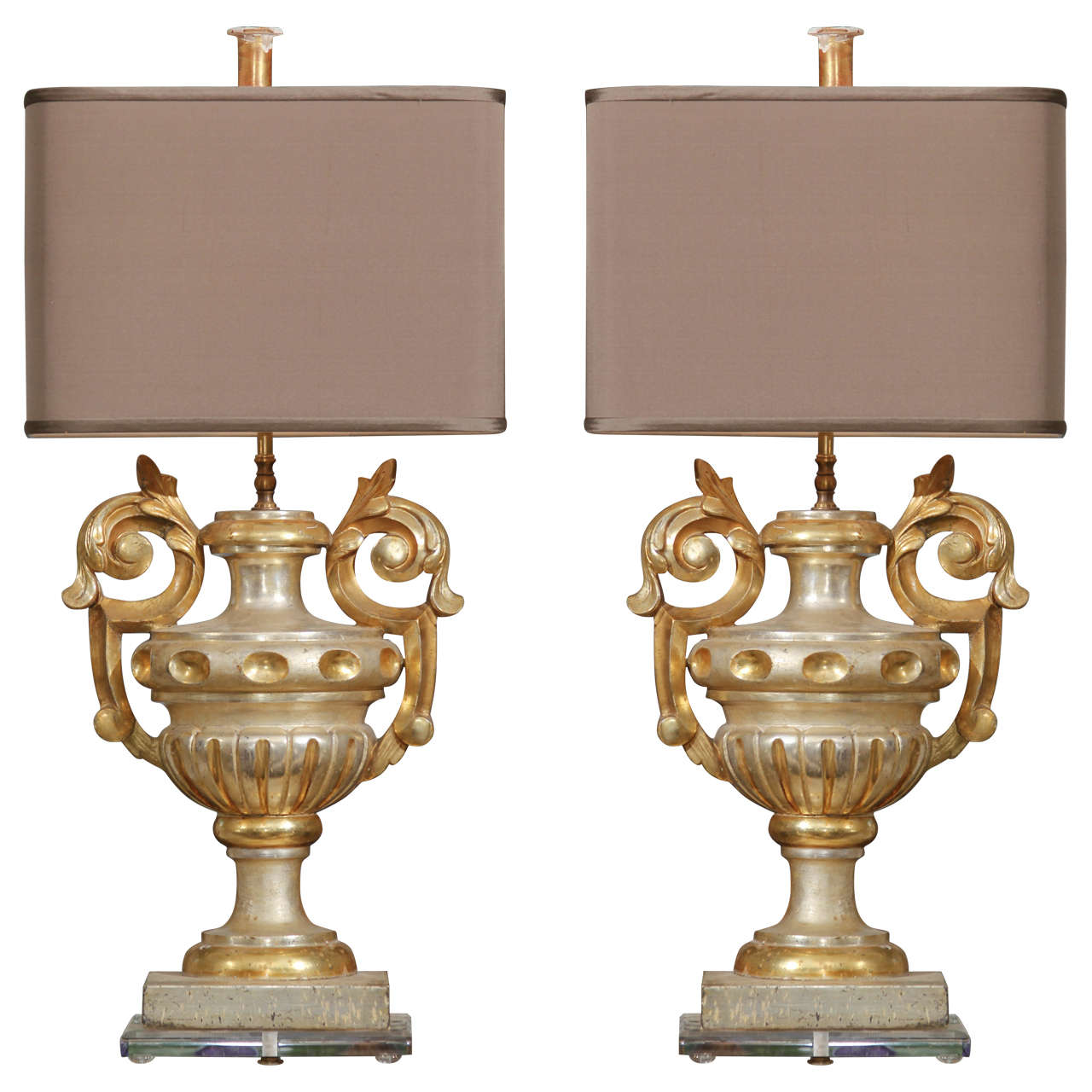 Pair of Gilded Urn Fragment Lamps For Sale