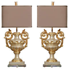 Pair of Gilded Urn Fragment Lamps