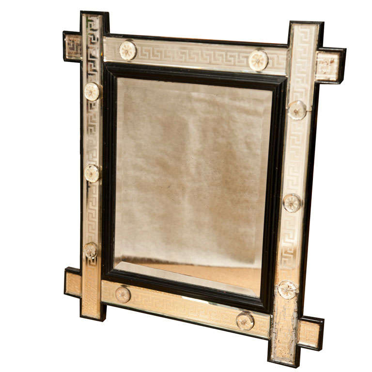 key glass frame mirror at 1stdibs