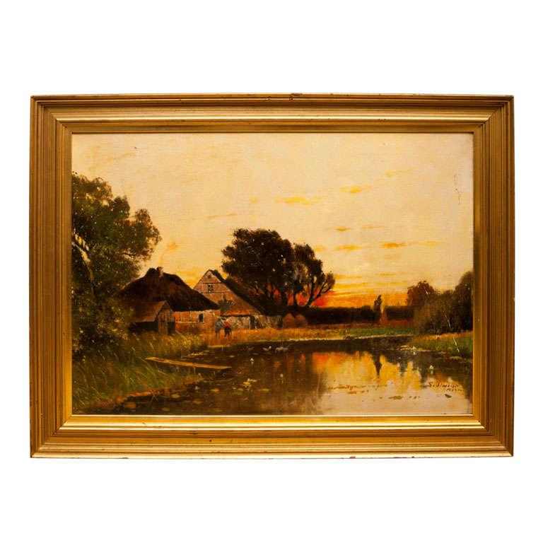 Framed Oil on Canvas by Josef Sedlmeier