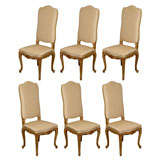 Set of Six French Louis XV Style Dining Room Side Chairs, Early 19th Century