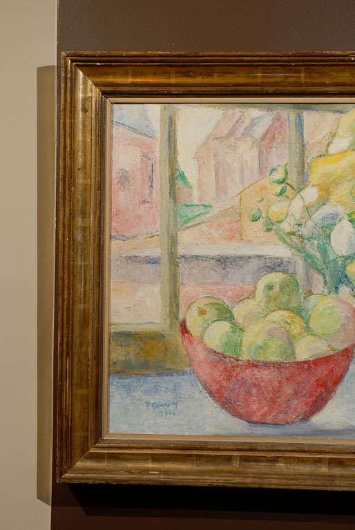 Belgian Fruit on Table, signed Paula Gradom For Sale