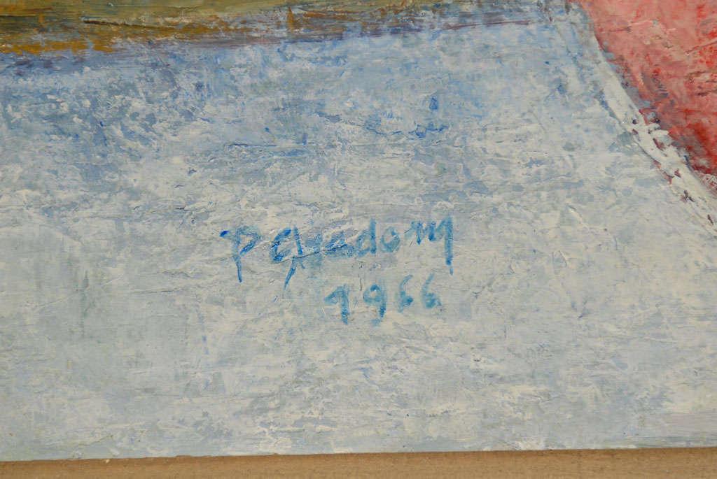 Canvas Fruit on Table, signed Paula Gradom For Sale