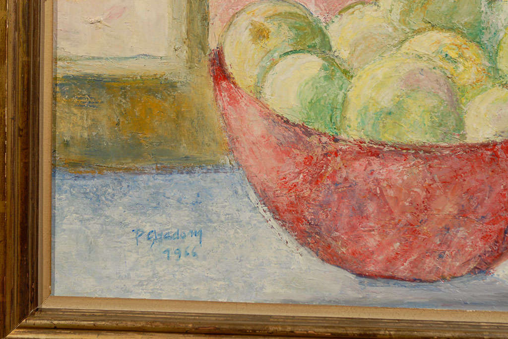 Fruit on Table, signed Paula Gradom For Sale 1