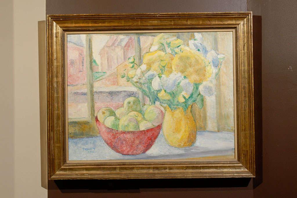 Fruit on Table, signed Paula Gradom For Sale 2