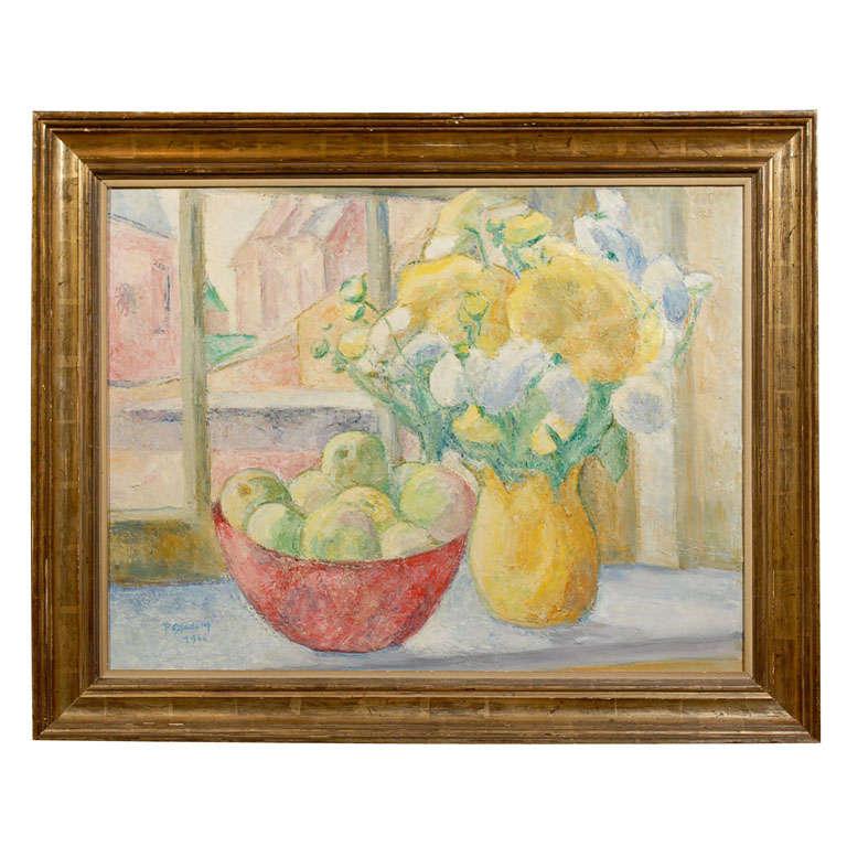 Fruit on Table, signed Paula Gradom For Sale