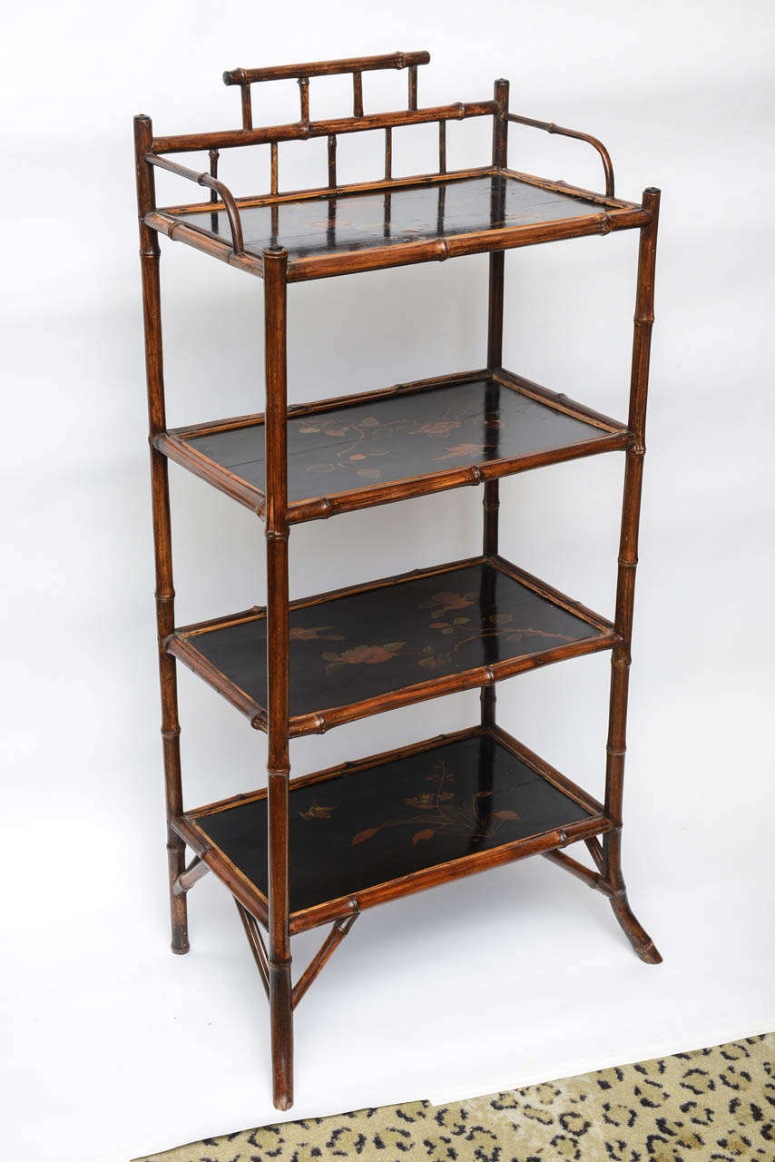 19th century english bamboo etagere at 1stdibs. Black Bedroom Furniture Sets. Home Design Ideas