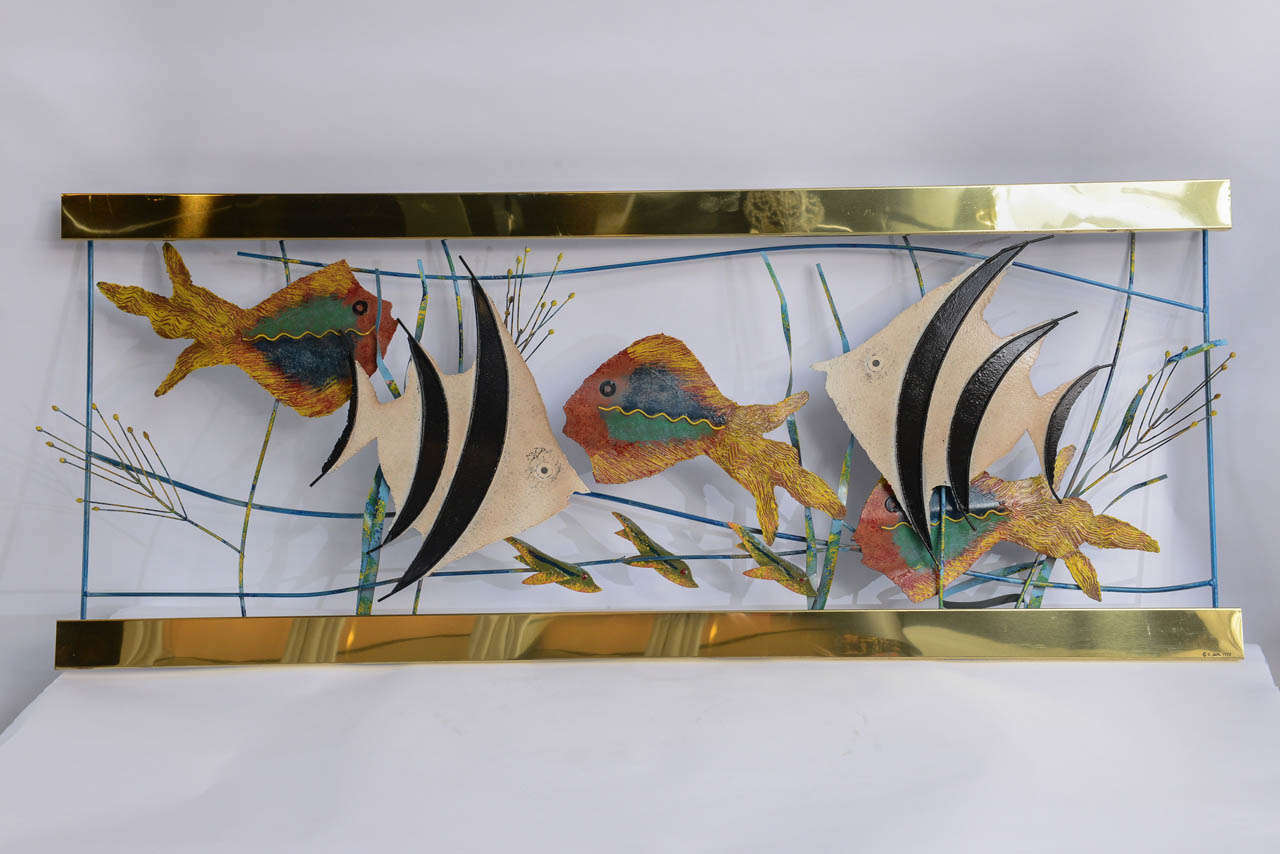 Tropical fish in aquarium metal wall sculpture signed c for Tropical metal wall art