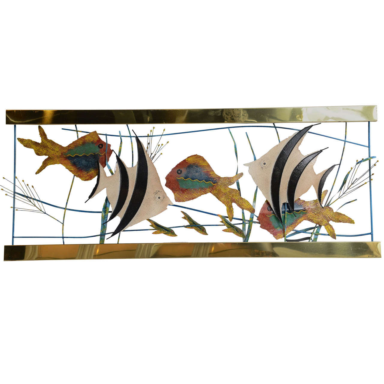 Home Aquarium Decorations Tropical Fish In Aquarium Metal Wall Sculpture Signed C