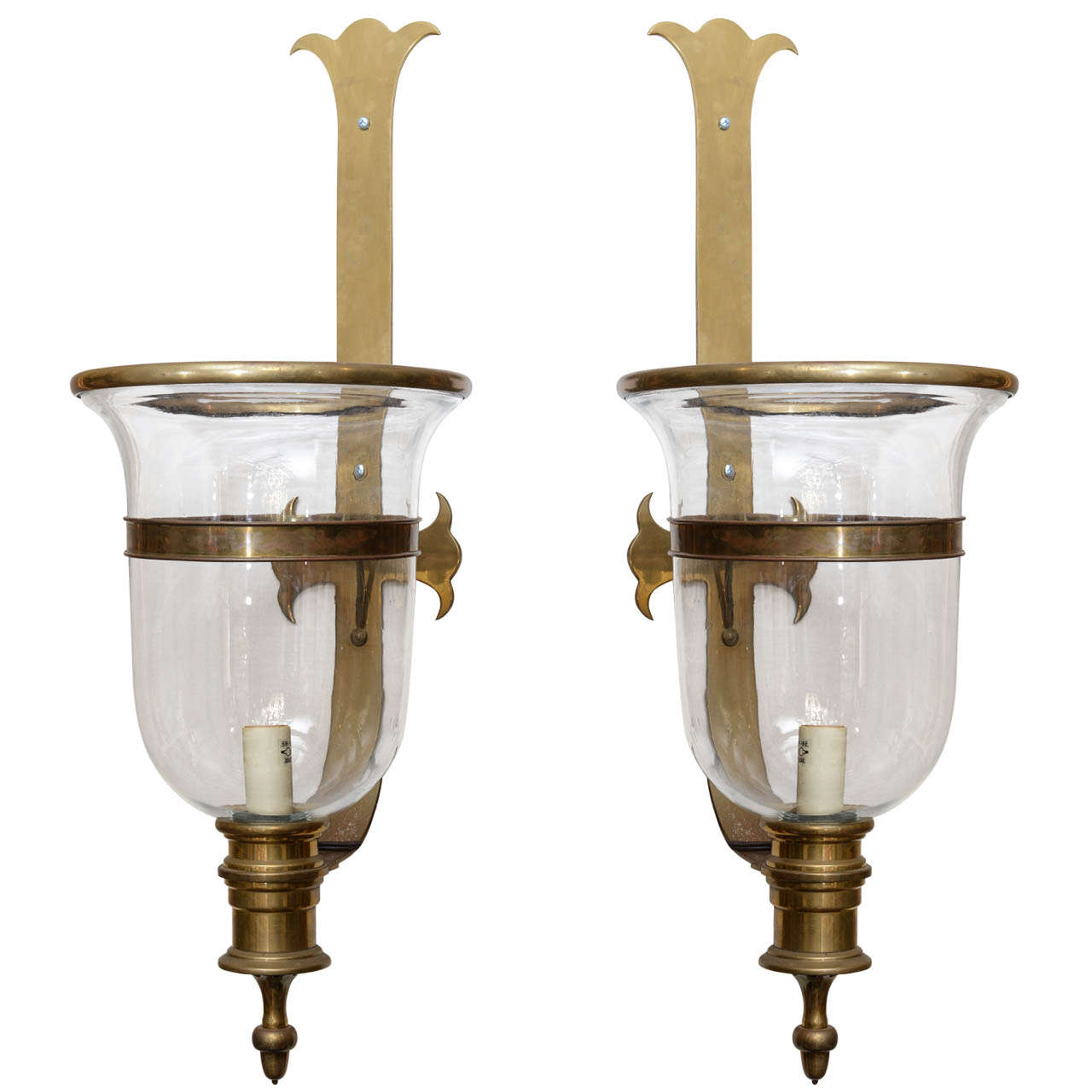 Chapman Brass Wall Sconces : Pair of Vintage Chapman Brass Hurricane Lanterns at 1stdibs