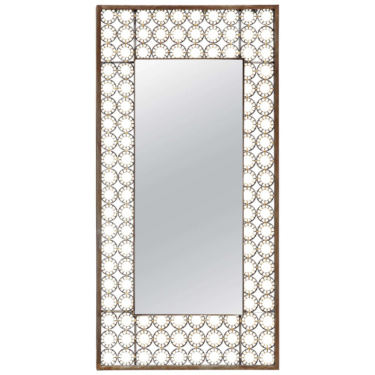 Marie suri iron and bronze narrow ovation mirror for sale for Narrow mirror