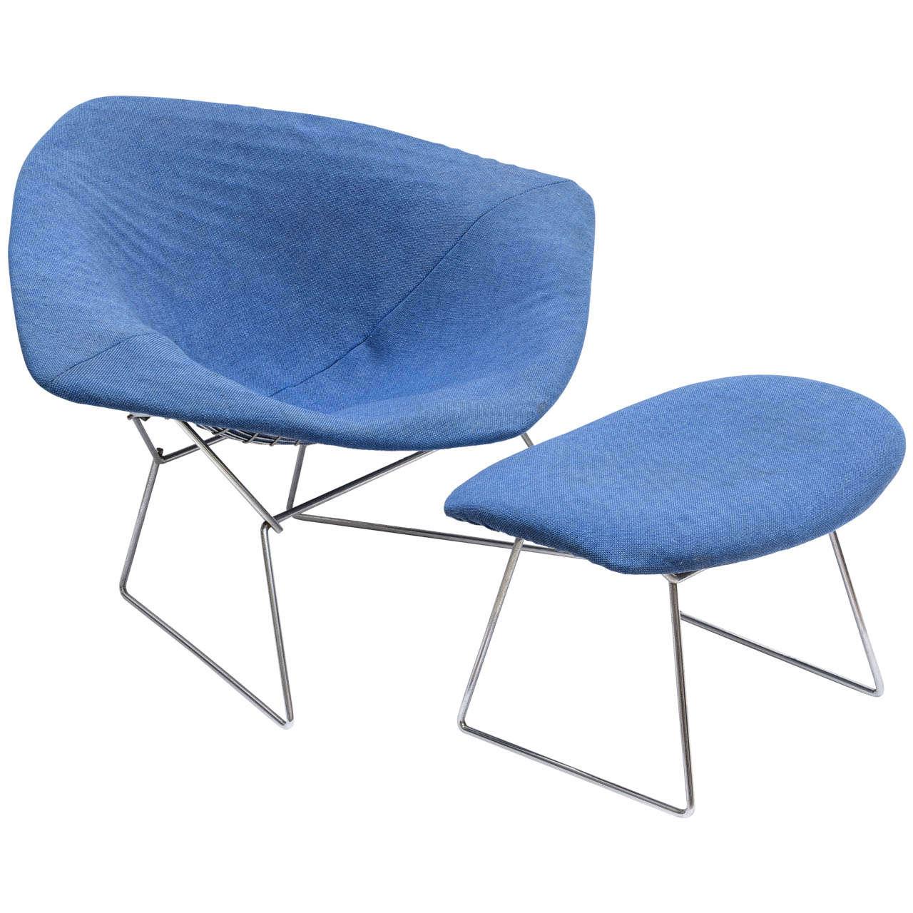 jumbo diamond chair and ottoman by harry bertoia at 1stdibs. Black Bedroom Furniture Sets. Home Design Ideas