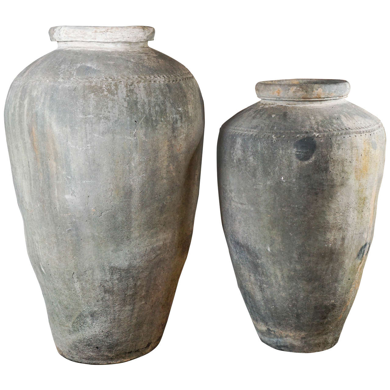 Monumental 19th Century Low Fired Clay Pots For Sale