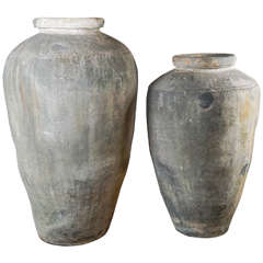 Monumental 19th Century Low Fired Clay Pots
