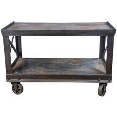 Midcentury Bethlehem Industrial Steel Rolling Cart
