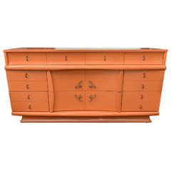 1950s Orange Lacquer Dresser or Credenza, USA SATURDAY SALE