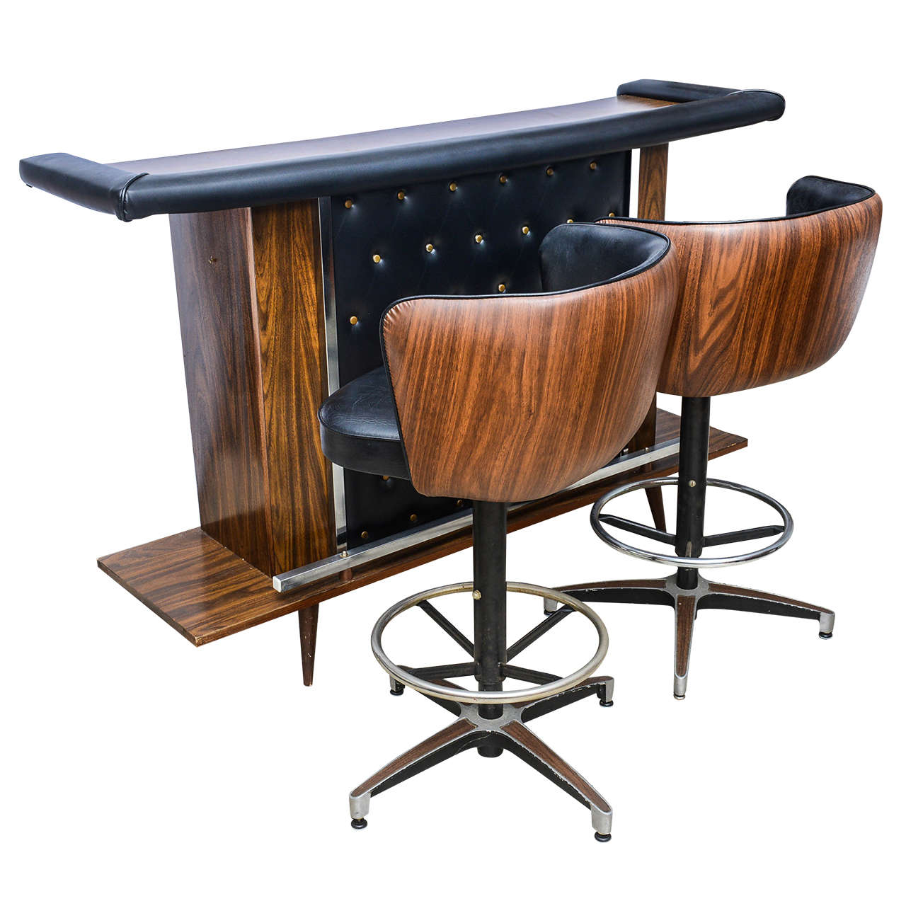 Mcm Vintage Bar Set With Two Stools America 1950s At 1stdibs