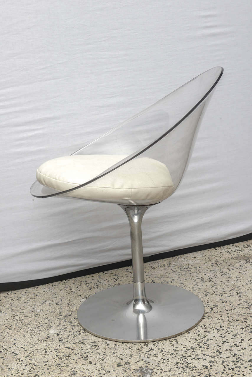 Pair of Philippe Starck of Lucite and Chrome by Kartell Eros Swivel Chairs 5