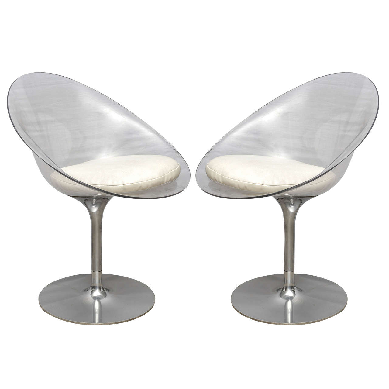 Pair of Philippe Starck of Lucite and Chrome by Kartell Eros Swivel Chairs