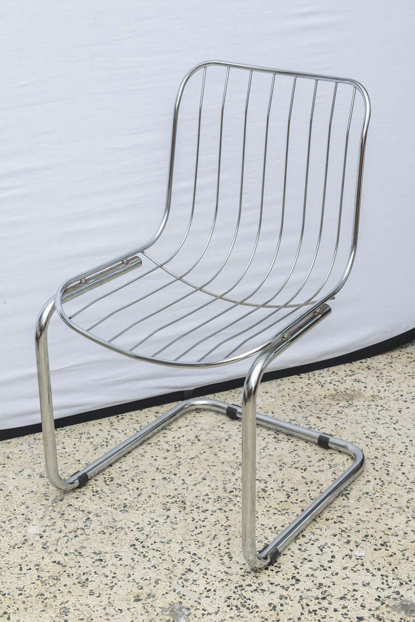 Pair Of Italian Chrome Wire Chairs, Italy Late 1960s For Sale 3