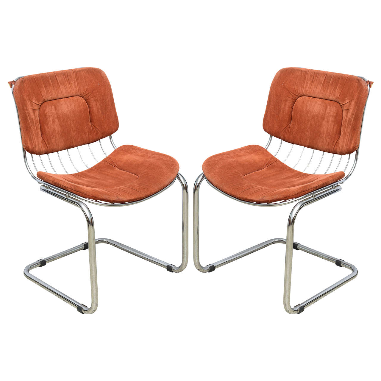 Merveilleux Pair Of Italian Chrome Wire Chairs, Italy Late 1960s For Sale
