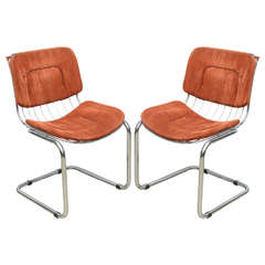 Pair of Italian Chrome Wire Chairs, Italy Late 1960s