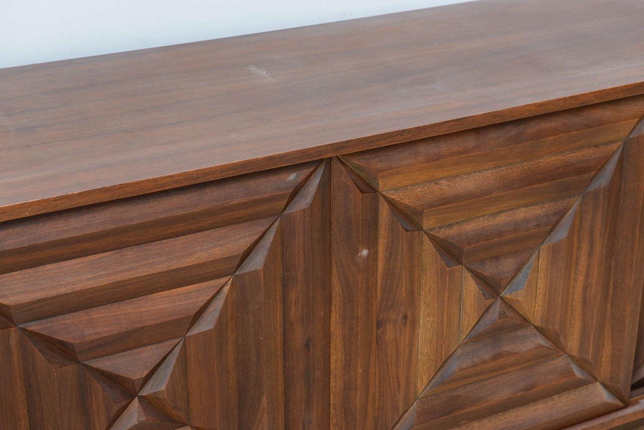 Modern Dark Wood Credenza : French modern dark walnut four door credenza or buffet style of