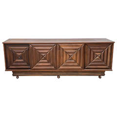 French Modern Dark Walnut Four-Door Credenza or Buffet, Style of Maxime Old