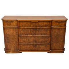 Late Art Deco Flame Mahogany Sideboard or Buffet, France