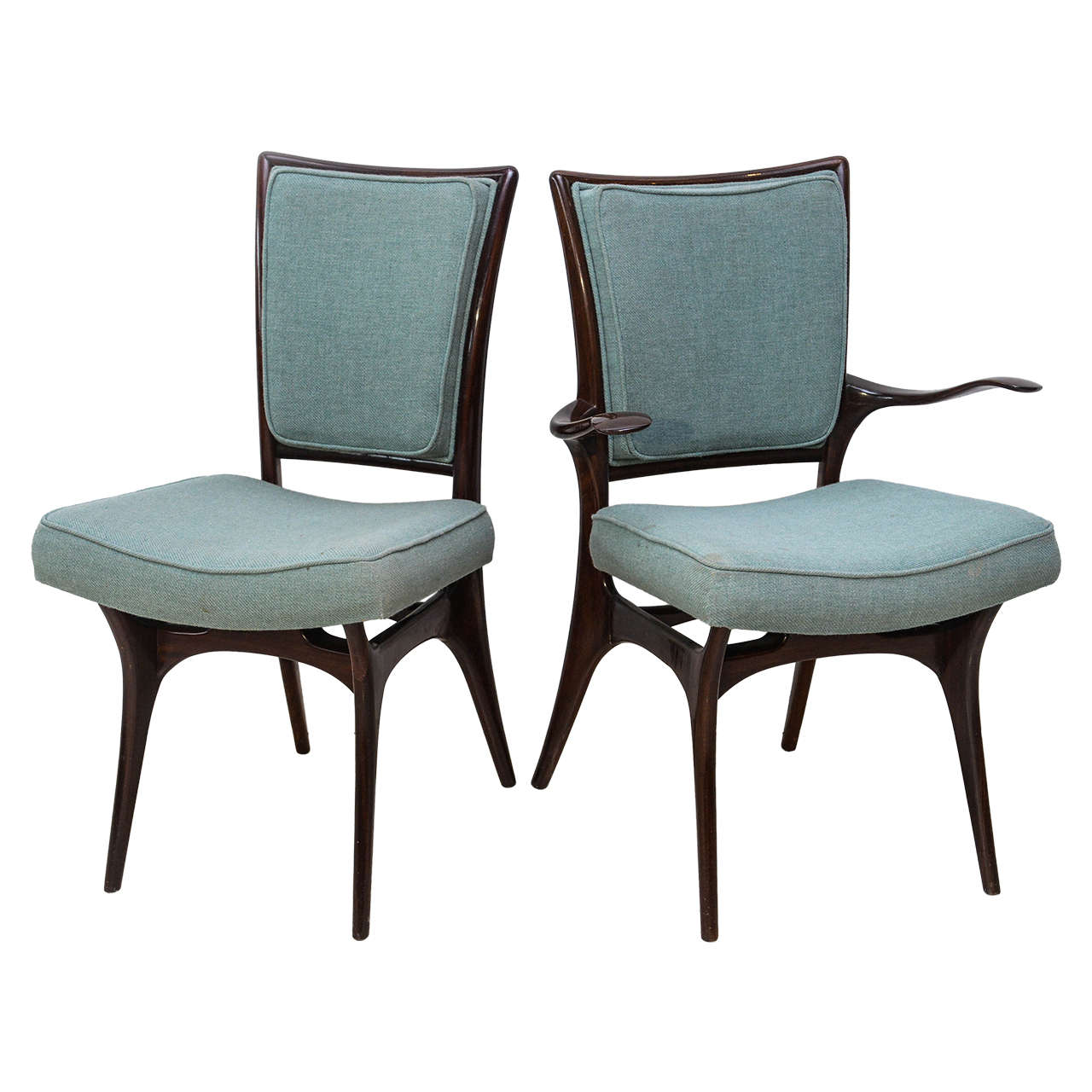 Set of Four American Modern Dark Walnut Dining Chairs, Vladimir Kagan