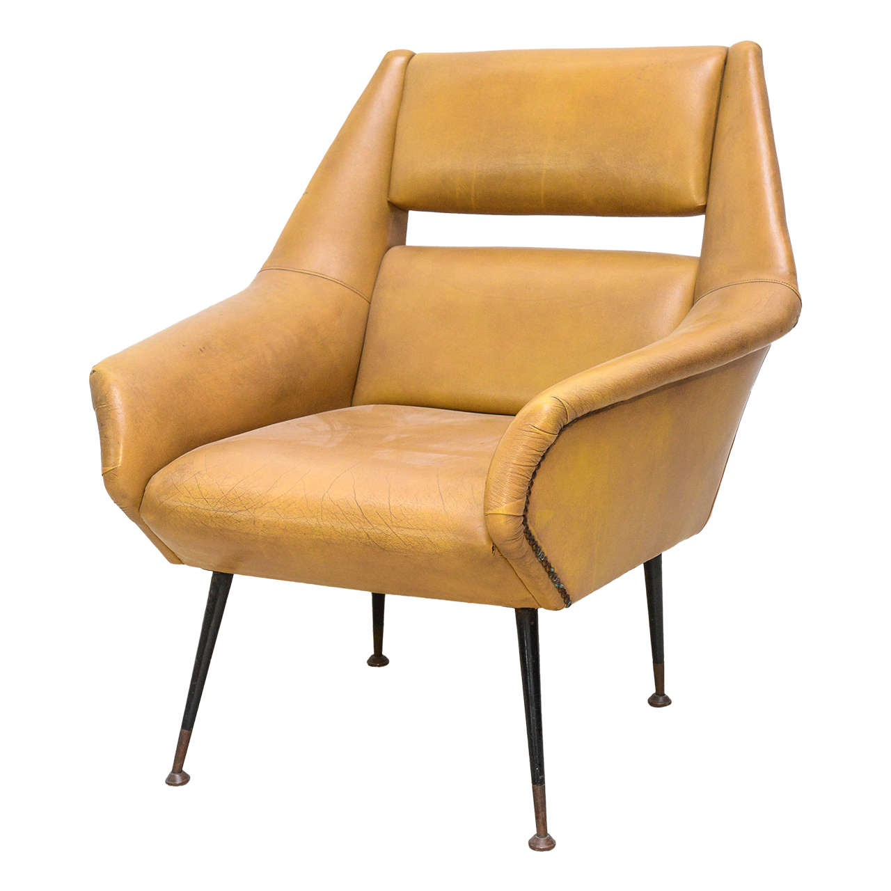 Italian Modern Brass, Enamel and Leather Armchair, Style of Gio Ponti
