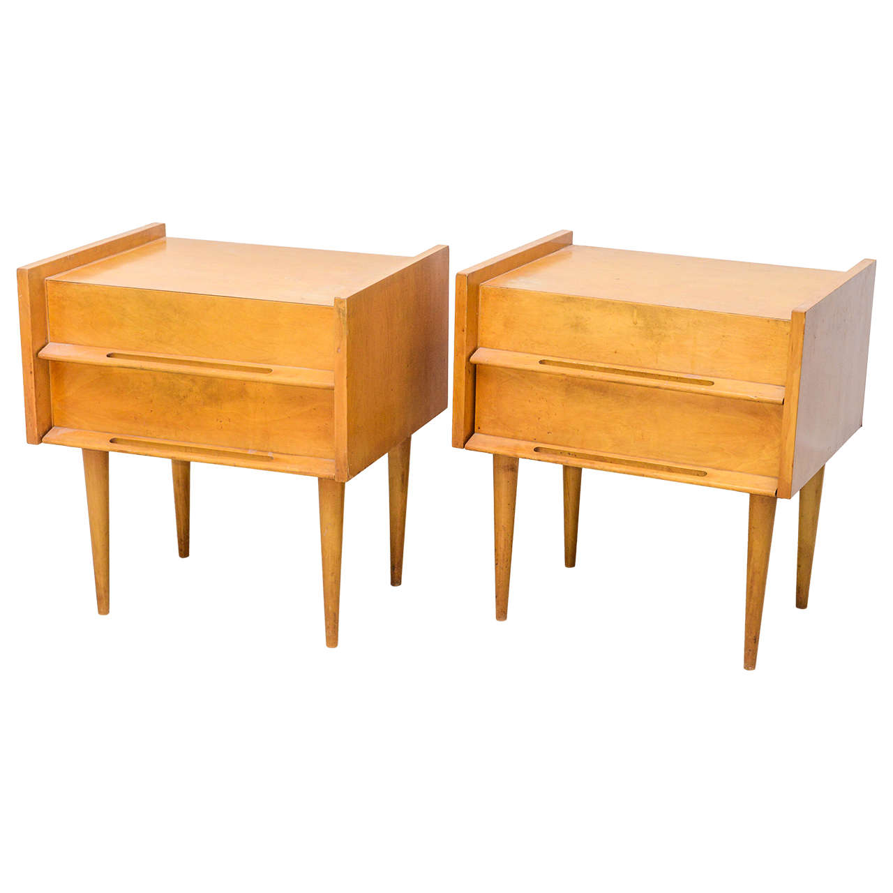Pair Of American Modern Birch Bedside Cabinets Sir Edmond