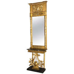 Early 19th Century Swedish Console and Mirror in Gold Gilt with Marble Top