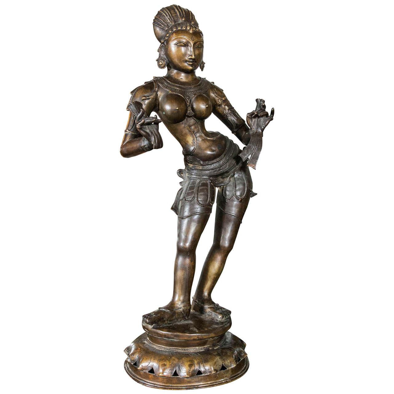 Standing Bronze Figure of a Hindu Goddess