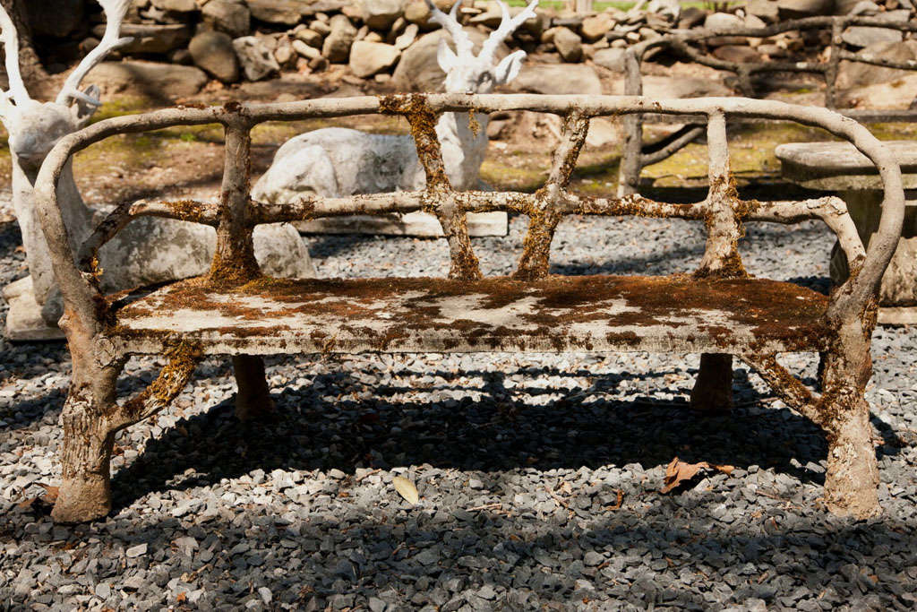 Curved Mossy Cement Bench For Sale At 1stdibs