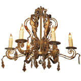 Antique French crystal and gilt iron 6-light chandelier