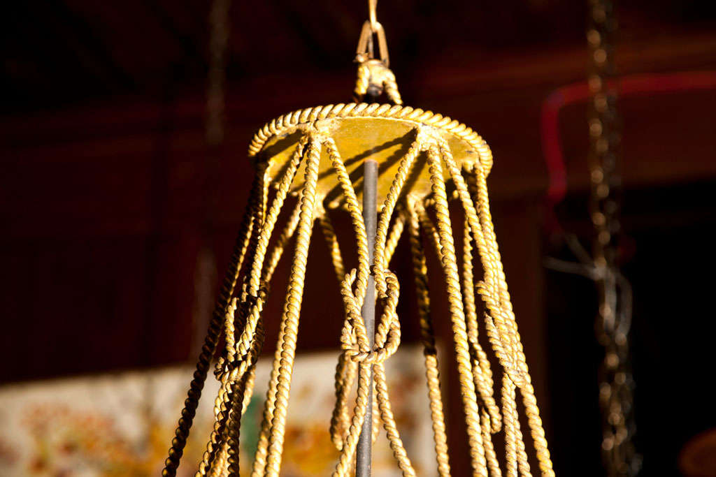 Gilt Rope Lantern In Excellent Condition For Sale In Stamford, CT