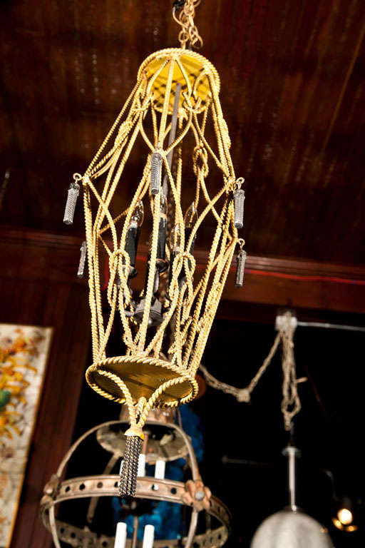 Mid-20th Century Gilt Rope Lantern For Sale