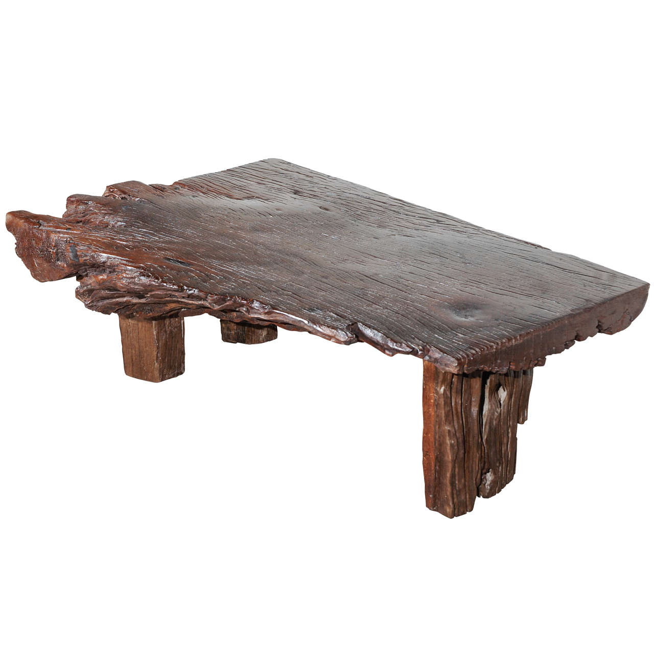 Reclaimed wood slab coffee table for sale at 1stdibs for Wood slab coffee table