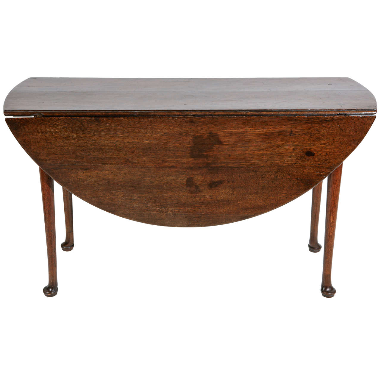 Queen anne walnut drop leaf round dining table and console for Round drop leaf dining table