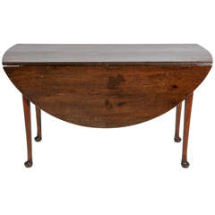 Queen Anne Walnut Drop Leaf Round Dining Table and Console