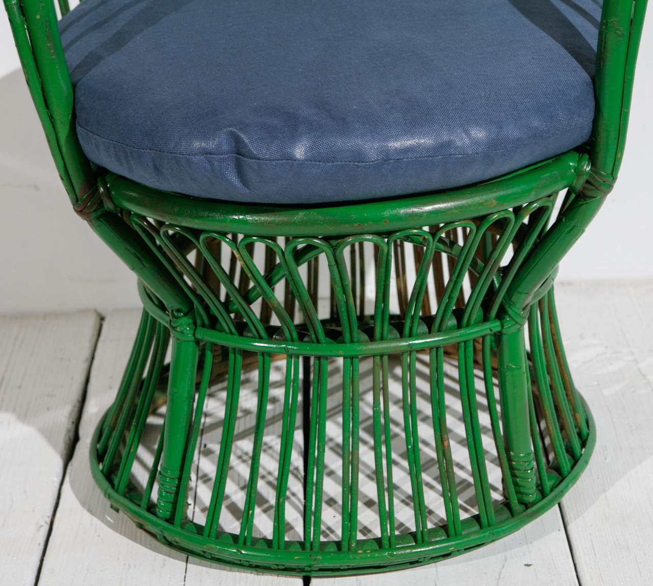 Modern Green Wicker Armchair in the style of Gio Ponti and Lio Carminati | Small