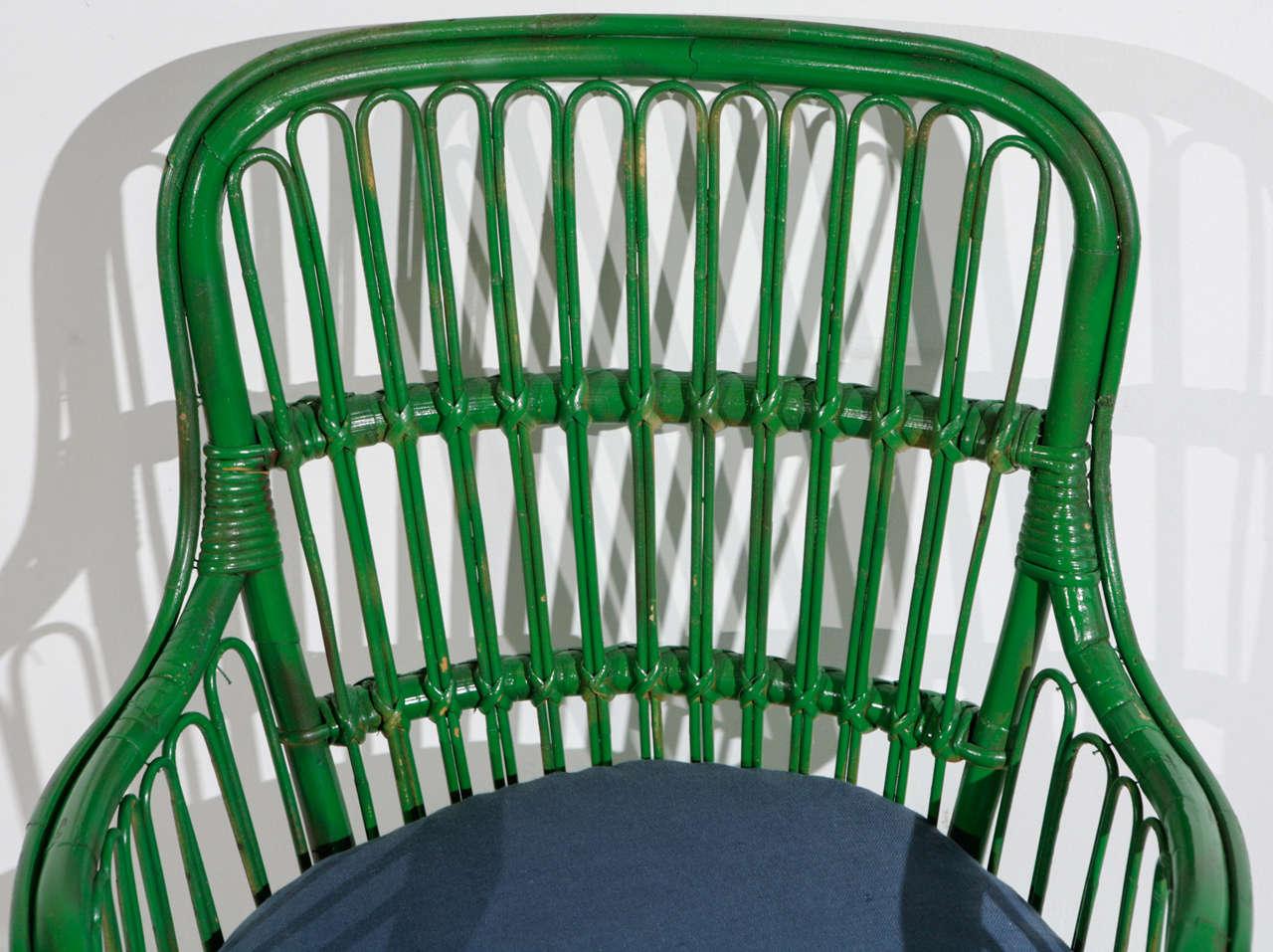 American Green Wicker Armchair in the style of Gio Ponti and Lio Carminati | Small
