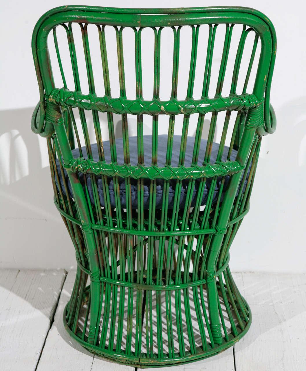 Green Wicker Armchair in the style of Gio Ponti and Lio Carminati | Small 1