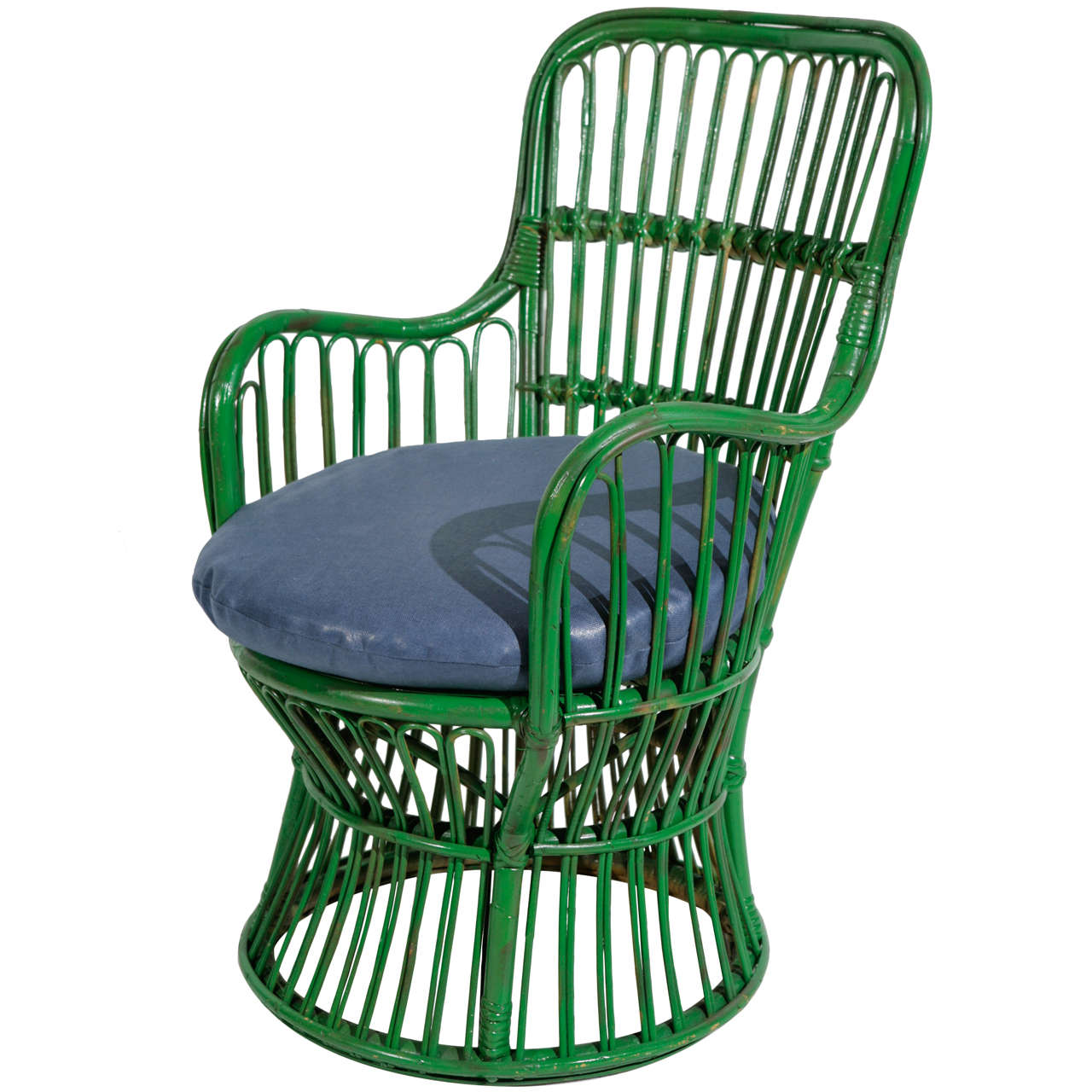 Green Wicker Armchair in the style of Gio Ponti and Lio Carminati | Small