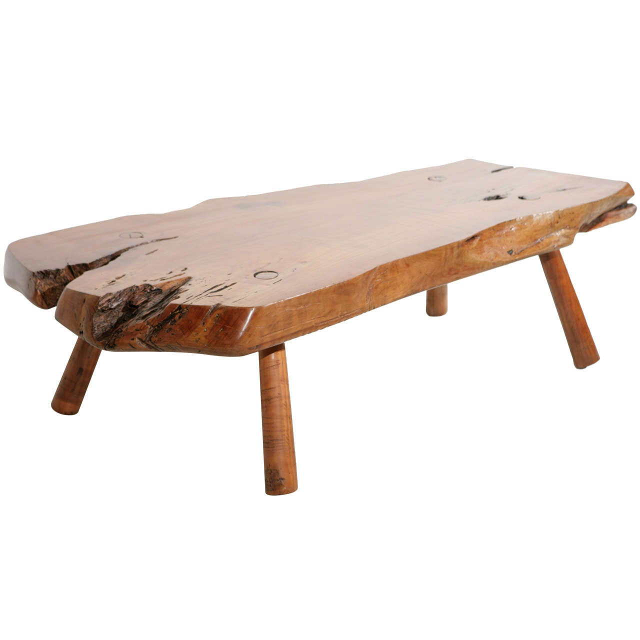 Live Edge Redwood Coffee Table With Peg Legs At 1stdibs